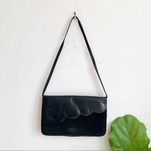 Vintage Black Leather Suede Shoulder Bag